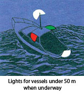 Lights for vessels under 50m when underway